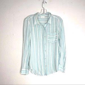 Abound Blue Striped Button Down Shirt XS